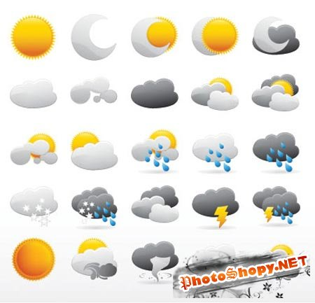 ������ ������ � ������� / weather icon vector Collection