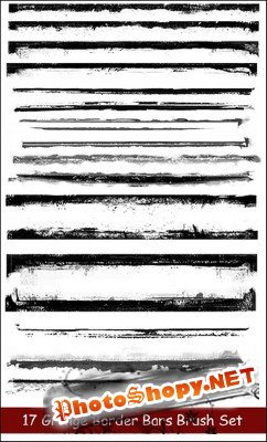 17 Grunge Border Bars Brush Set