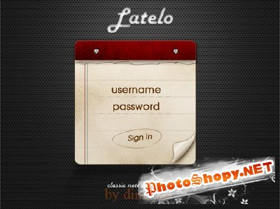 Latelo classic note login form