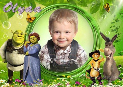 Яркая детская рамка с героями мультфильма «Шрек»
