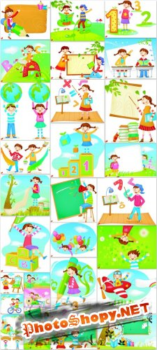Kids Vector Cliparts - kids, holiday, summer, fun, learning, school, vacation