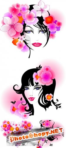 My Beautiful Lady - Women, girl, hair, face, flower, heart, vector