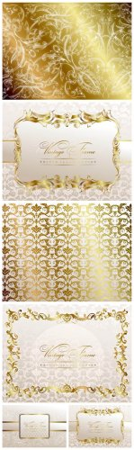 Golden Pattern Vector - Gold patterns, background, vector