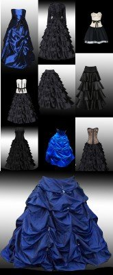 A collection of black evening dresses and skirts