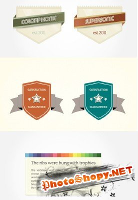 Badge with Ribbons, Content Box PSD