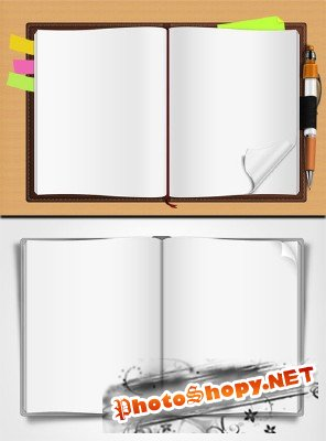 Opened Book and Notepad
