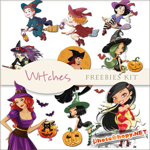 Scrap-kit - Witches - Halloween Illustrations #1