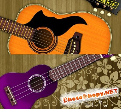 Purple and orange guitar