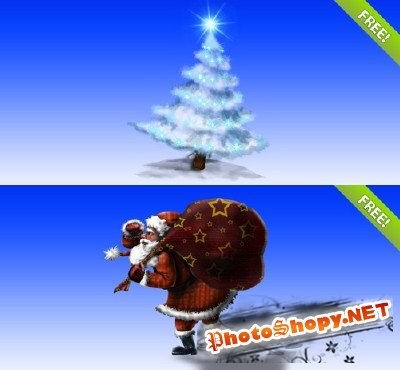 Layered PSD Christmas Tree and Santa Claus illustration