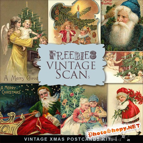 Scrap-kit - Vintage X-mas Postcards #1