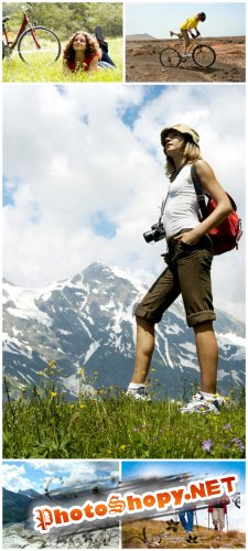 Tourism Cliparts - Hiking, mountain biking, nature, people