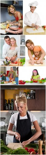Cooking Cliparts - Cooking, kitchen, family