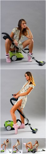 Photo Cliparts - Girl with vacuum cleaner