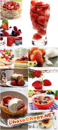 Berry Desert Cliparts - Berry desserts and sweets, strawberries, blueberries