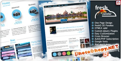 ThemeForest - freshCloud - 3D Parallax HTML One Page Template - Rip
