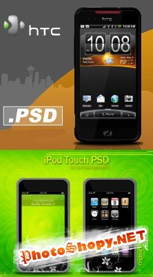 iPod Touch and smartphone psd