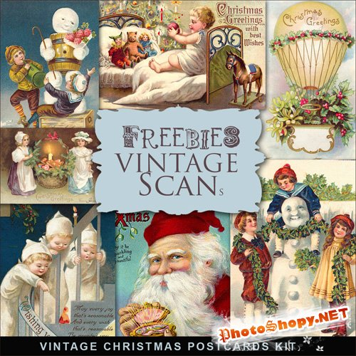 Scrap-kit - Vintage X-mas Postcards #5