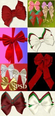 Christmas ribbons psd