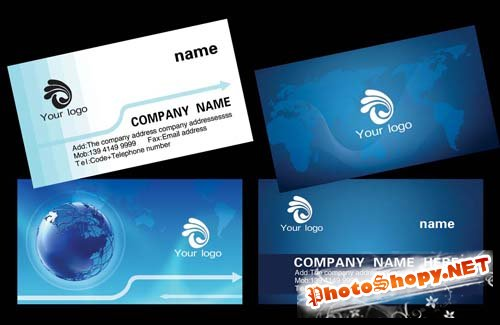 Personalized Technologies blue business card template