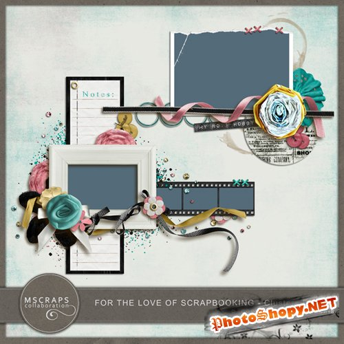 Scrap-kit - Cluster Frames With Flowers (2 PSD, 2 PNG)
