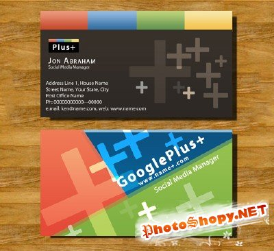 Business Cards - Google Plus PSD Template 2011