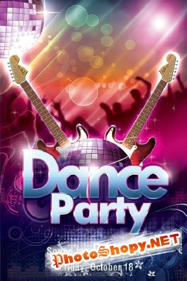 Dance Party Flyer Template PSD