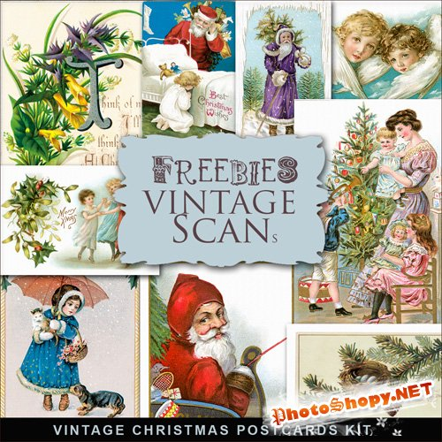 Scrap-kit - Vintage X-mas Postcards #10