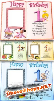 Happy birthday 1 year for girl and boys frames psd