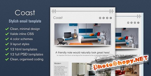ThemeForest - Coast - Stylish Email Template - Tumblog Style - Rip