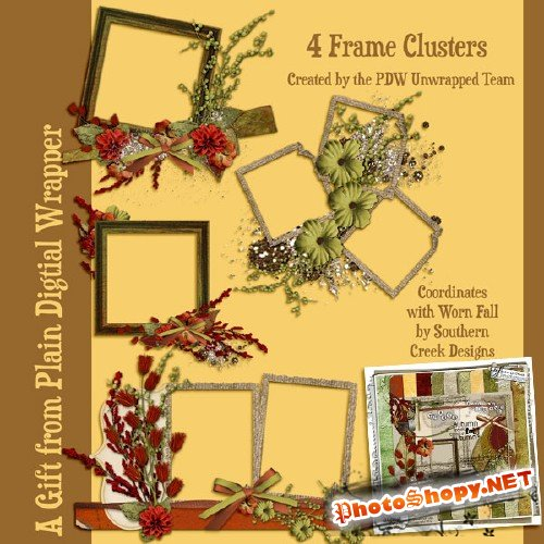 Scrap-kit - 4 Frame Clusters With Flowers