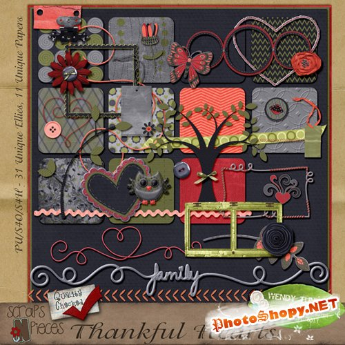 Scrap-set - Thankful Hearts #1