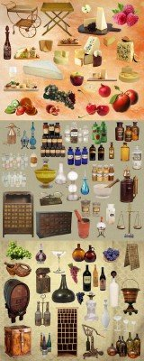 Cheese, wine, fruit and apothecary set