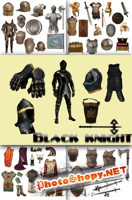Black knight, conquistador armor and roman costumes