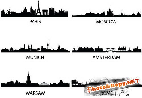 Силуэты городов (City Silhouettes Vector)