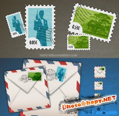 Stylish Postage Stamps and envelope icon Free PSD Template