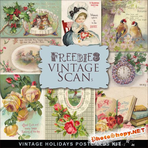 Scrap-kit - Vintage Holidays Postcards #2