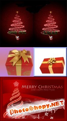 Christmas Card and Presents PSD