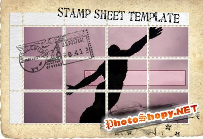 Stamp Sheet Template psd file