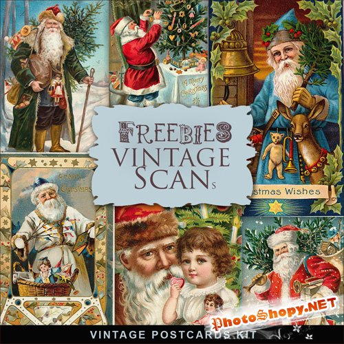 Scrap-kit - Vintage X-mas Postcards #14