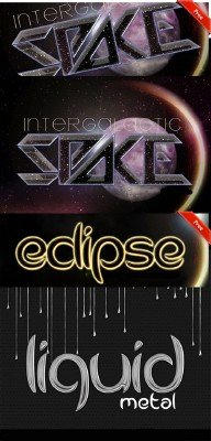 Liquid Metal, Eclipse and Space Text Styles for Photoshop