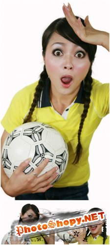 Photo Cliparts - Girl with football ball