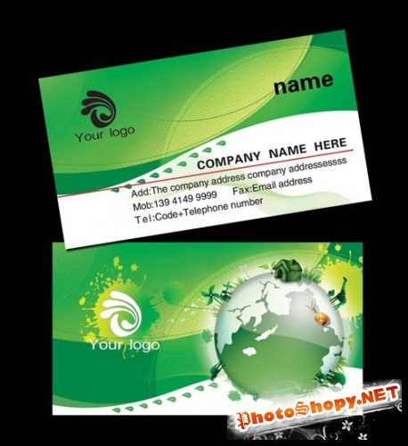 Green Earth Personalized Business Card Template