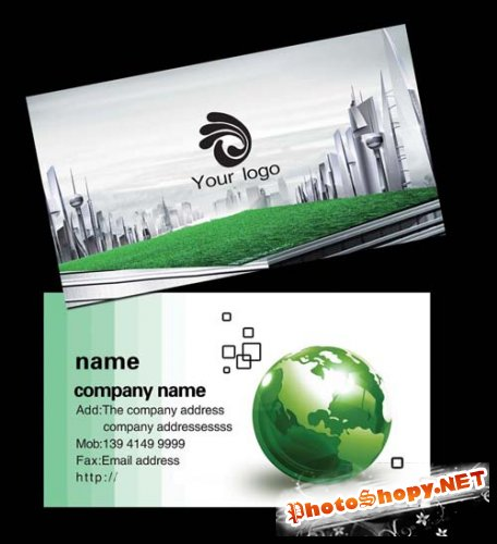 Very nice good green technology company business card design templates