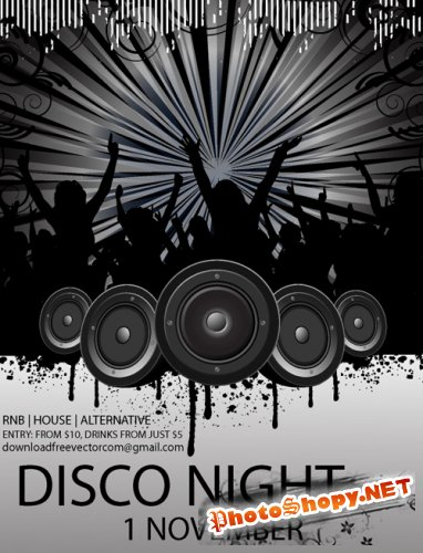 Vector Flyer For Disco Night