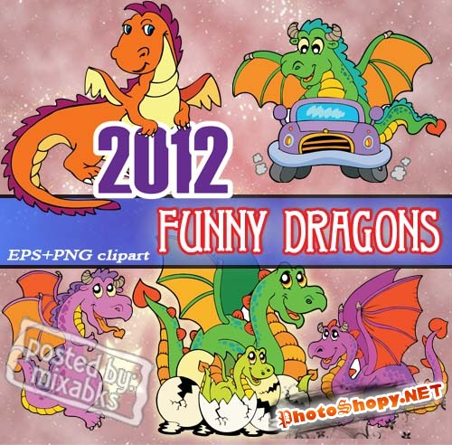 Смешные Драконы | Funny Dragon 2012 (EPS vector + PNG scrap)