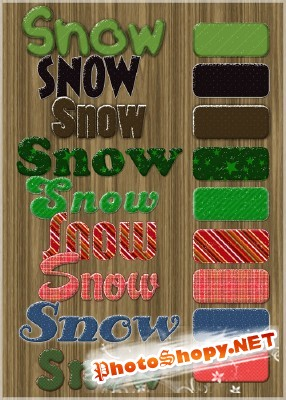 Snow layer text styles for Photoshop