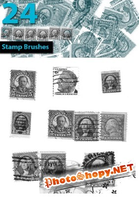 Stamp brushes set for Photoshop