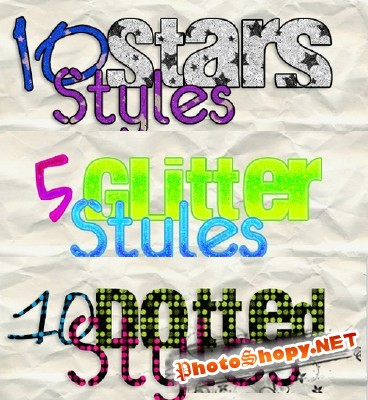 Glitter text layer Styles for Photoshop