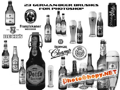 Brushes set - German Beer Labels Bottles