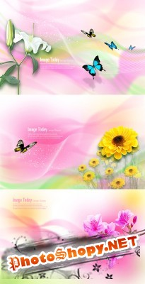 PSD for Photoshop - Spring backgrounds nature